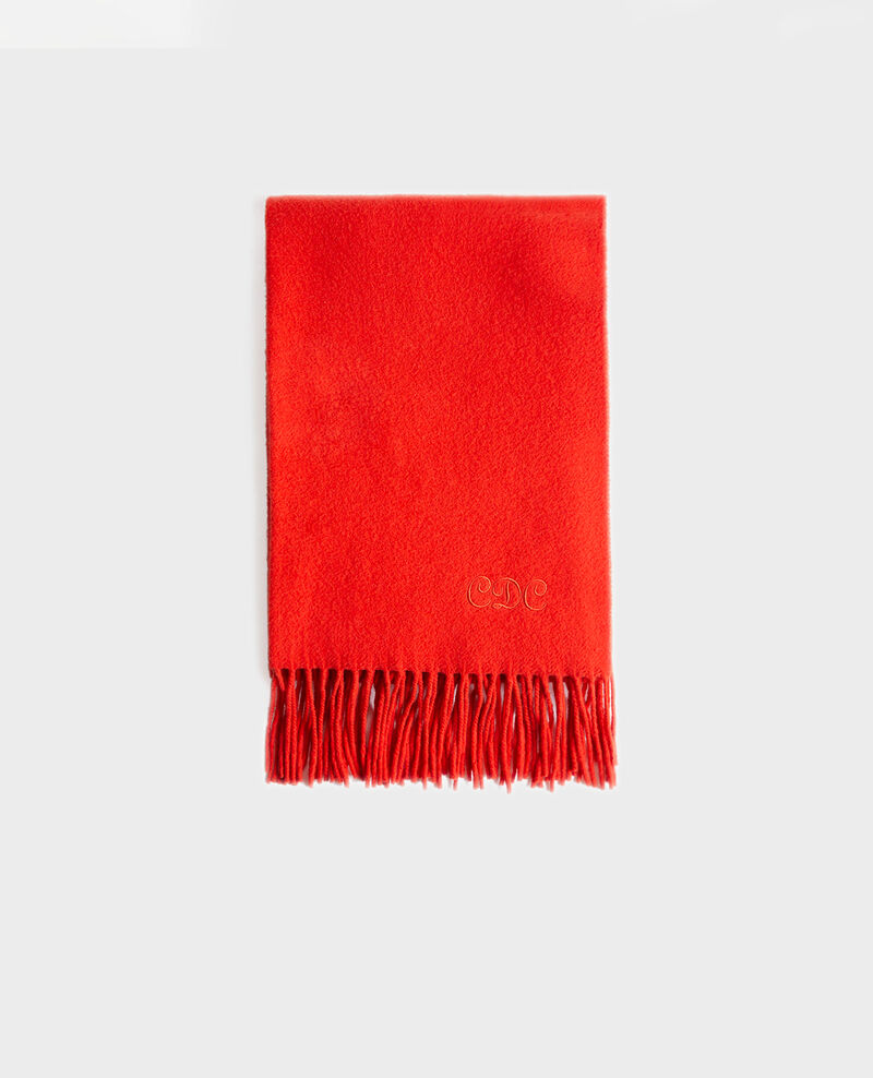 Long wool scarf with fringes Valiant poppy Mautes