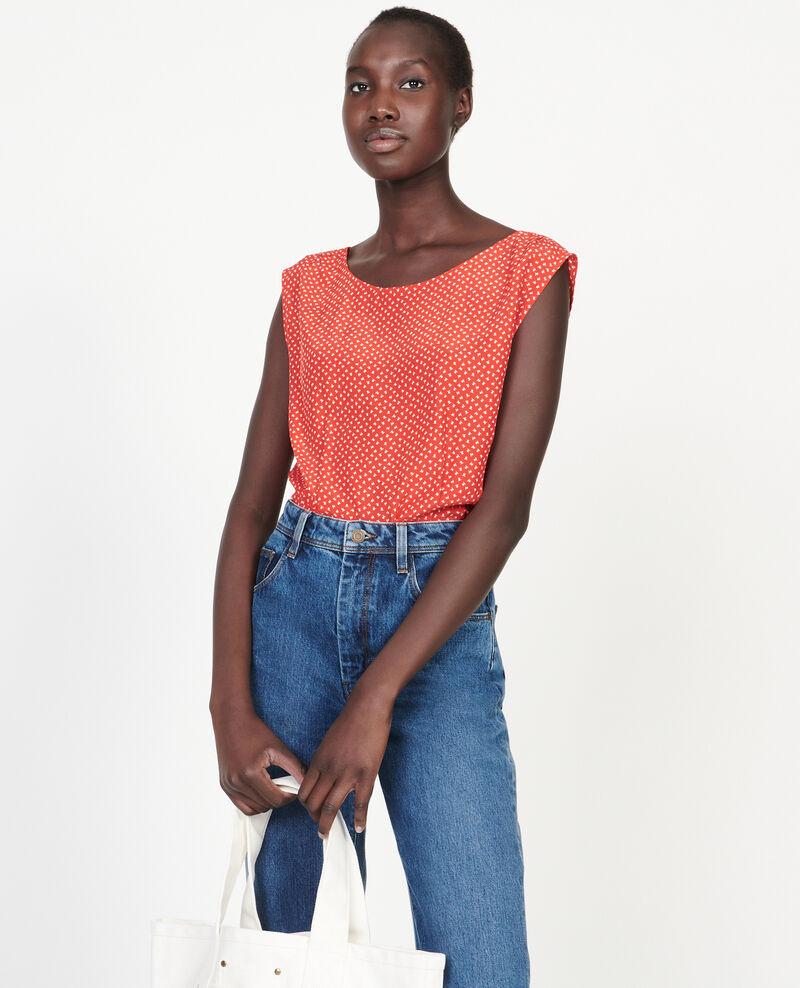 Silk blouse Memphis fiery red Lafox