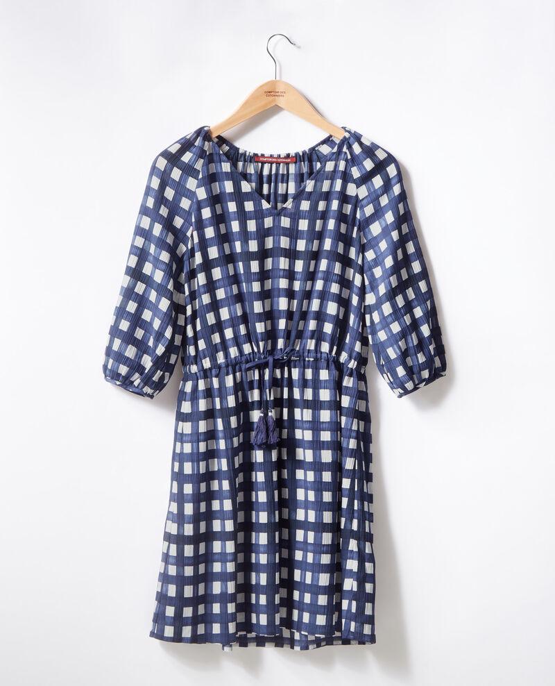 Printed dress Ghingham navy Fajitas