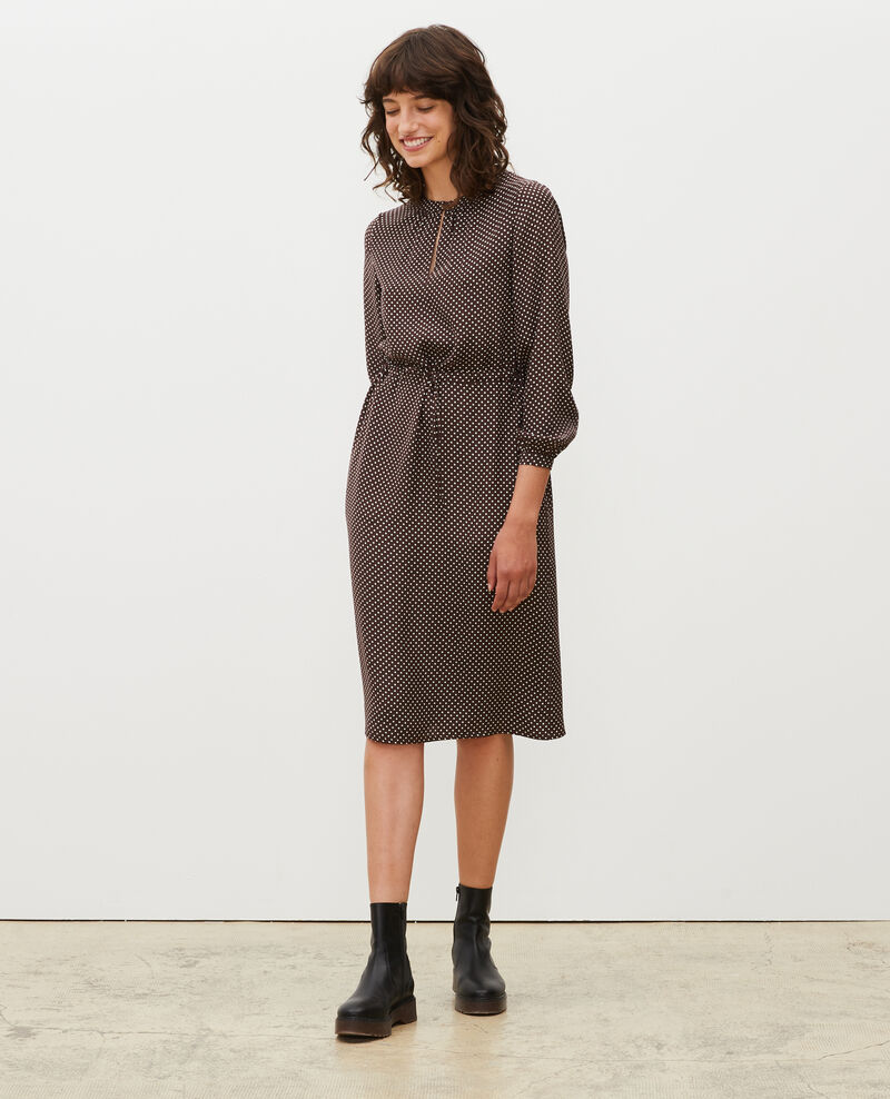 Loose silk dress Little pois coffee bean Megrisa