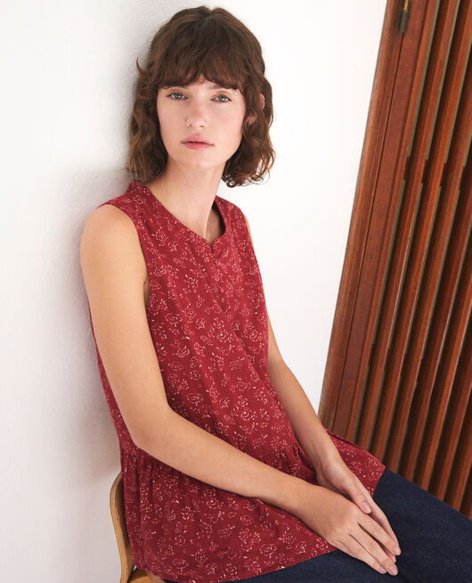 Sleeveless blouse Red