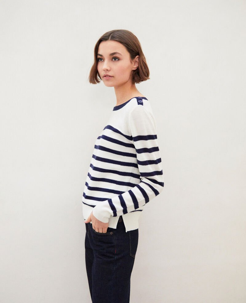 Striped wool jumper Off white/navy Ibateau