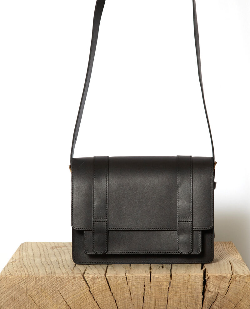 Smooth leather bag, small model Noir Garta
