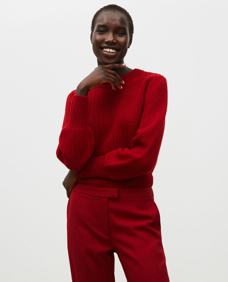 Cable knit round neck wool jumper Royale red Marquise