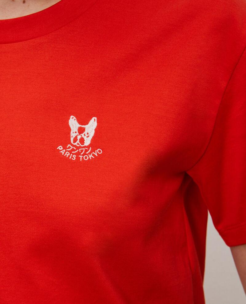 Embroidered cotton t-shirt Spicy orange Nagano