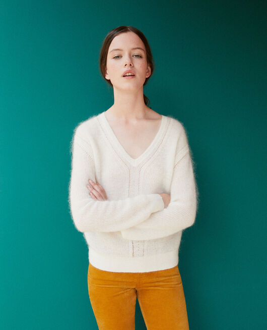 Jumper with mohair White