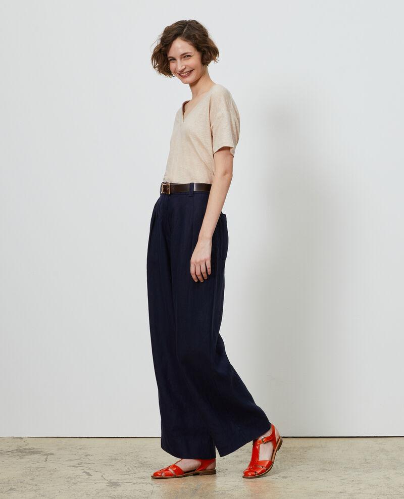 Linen high-waisted trousers YVONNE Maritime blue Lafare