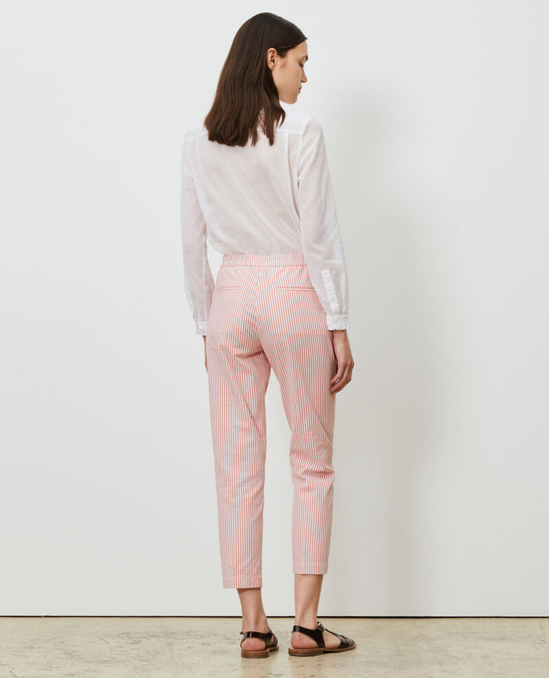 MARGUERITE trousers, cotton seersucker 7/8 cigarette pants Str purepumpkin white Nyokeasy