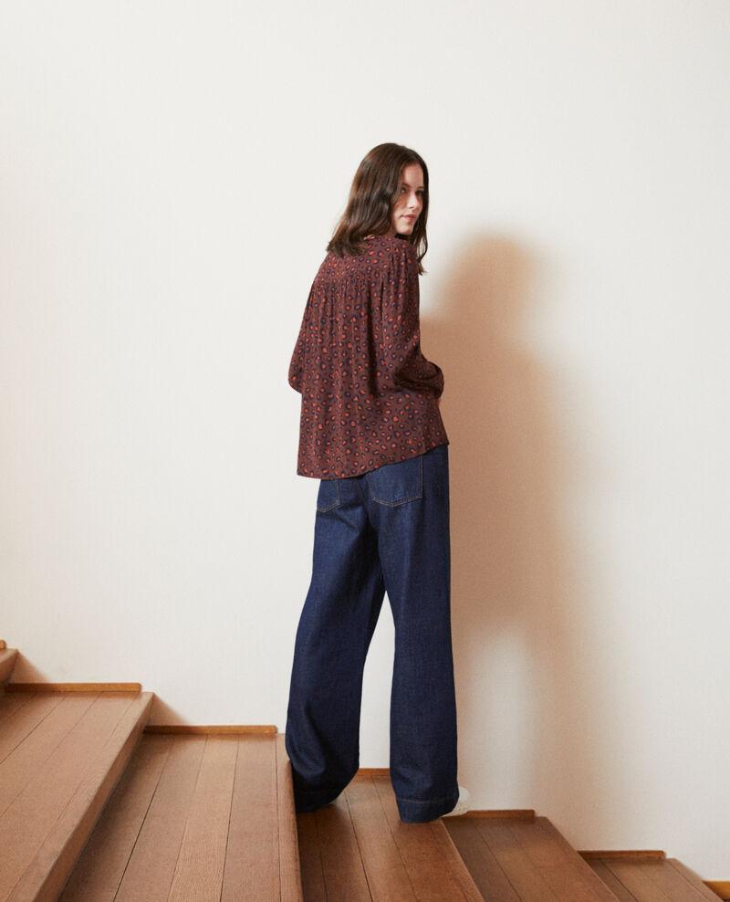 Loose printed blouse Bl deep mahogany Gentiana