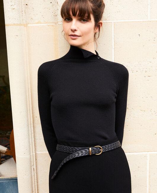 Braided leather belt DARK NAVY