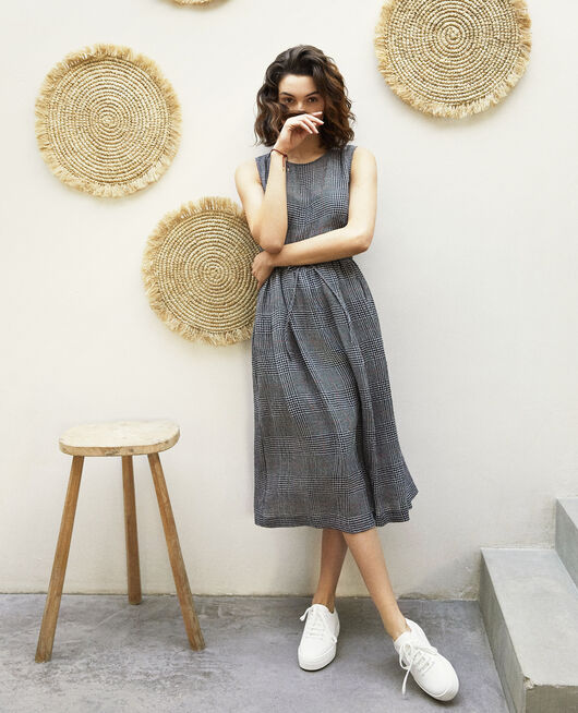 Linen blend midi dress NOIR/BLANC/ROUGE
