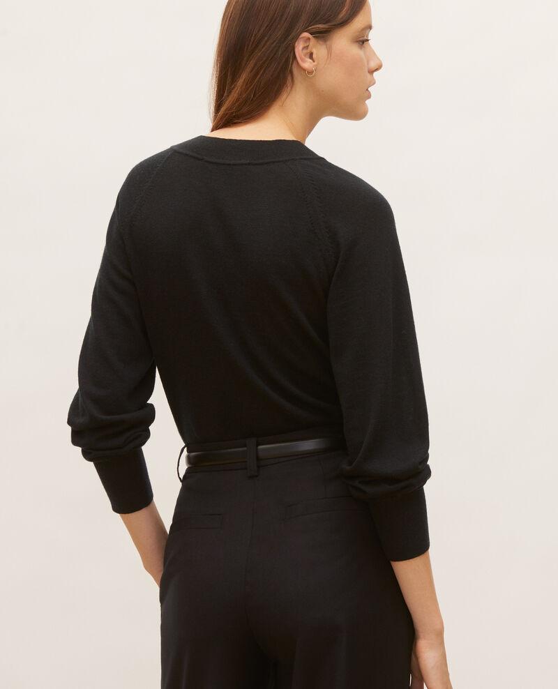 Round neck merino wool cardigan Black beauty Molinot