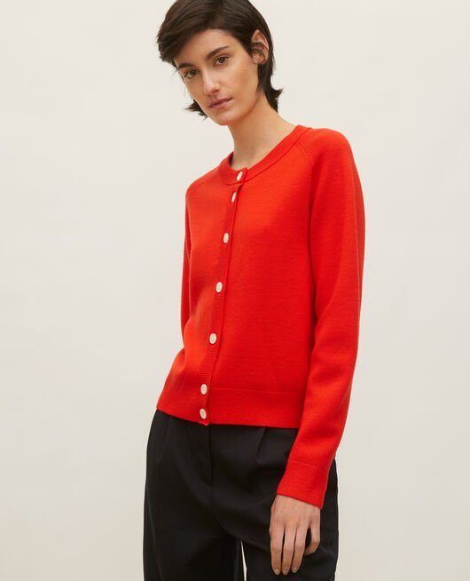 Round neck wool cardigan FIERY RED