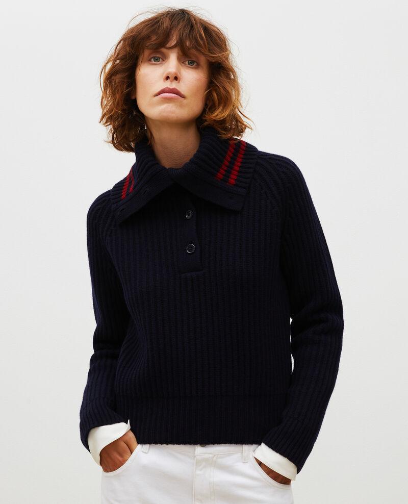 Wool half-neck jumper with a wide collar Night sky Marsani