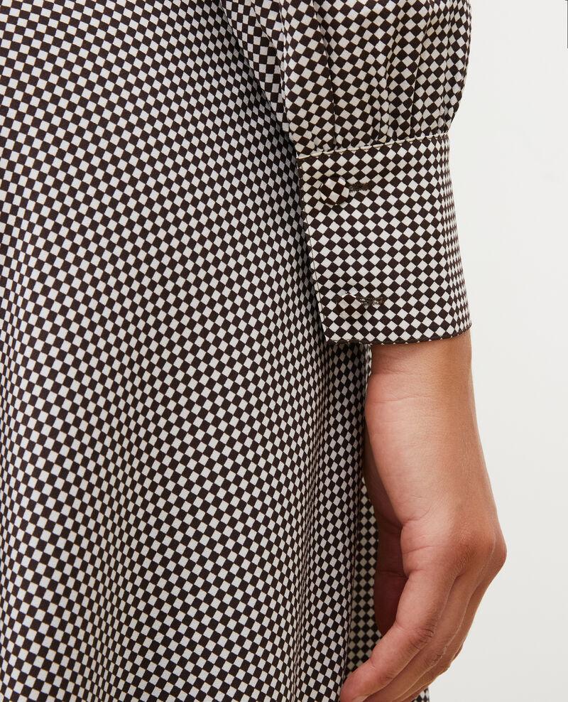 Floaty silk bias-cut dress Print damiers coffee bean Manteta