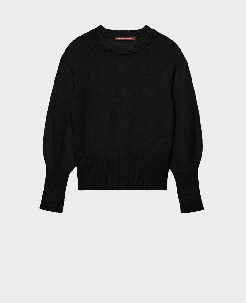 Cashmere jumper with puff sleeves Black beauty Migny
