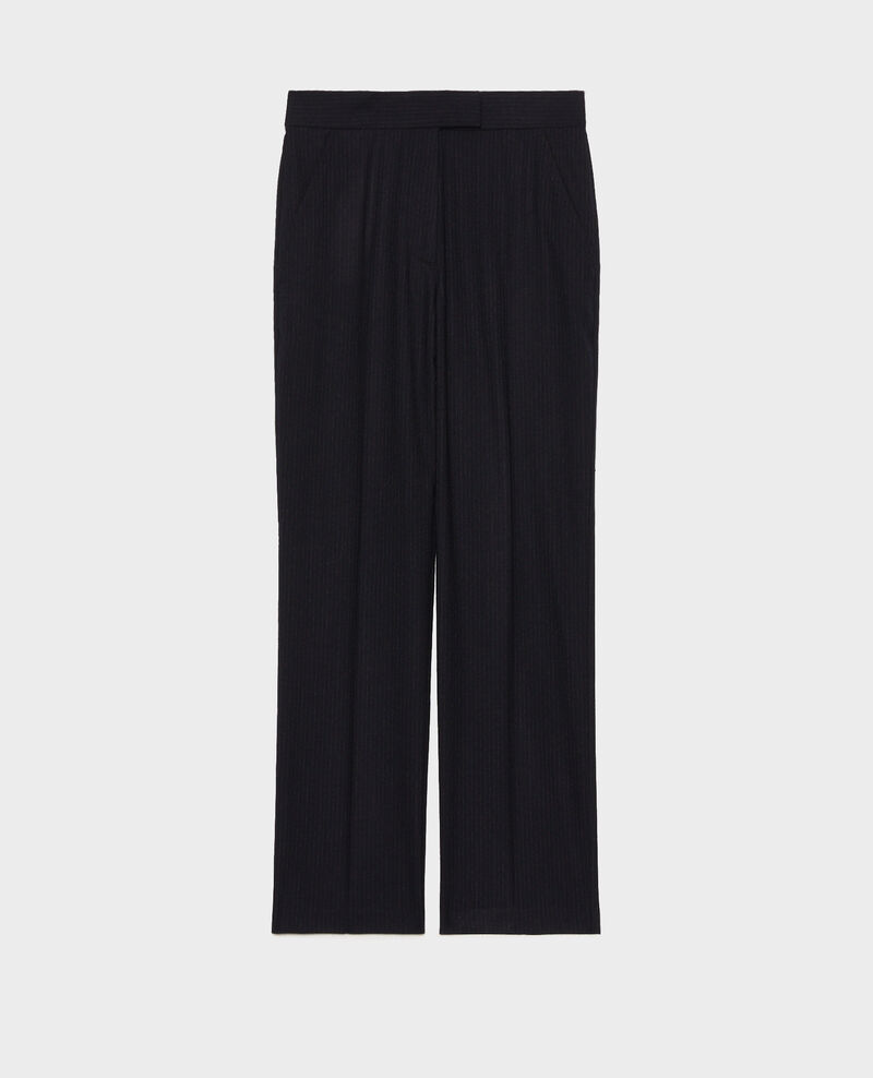 Straight wool suit trousers MARCELLE Night sky Misabeau