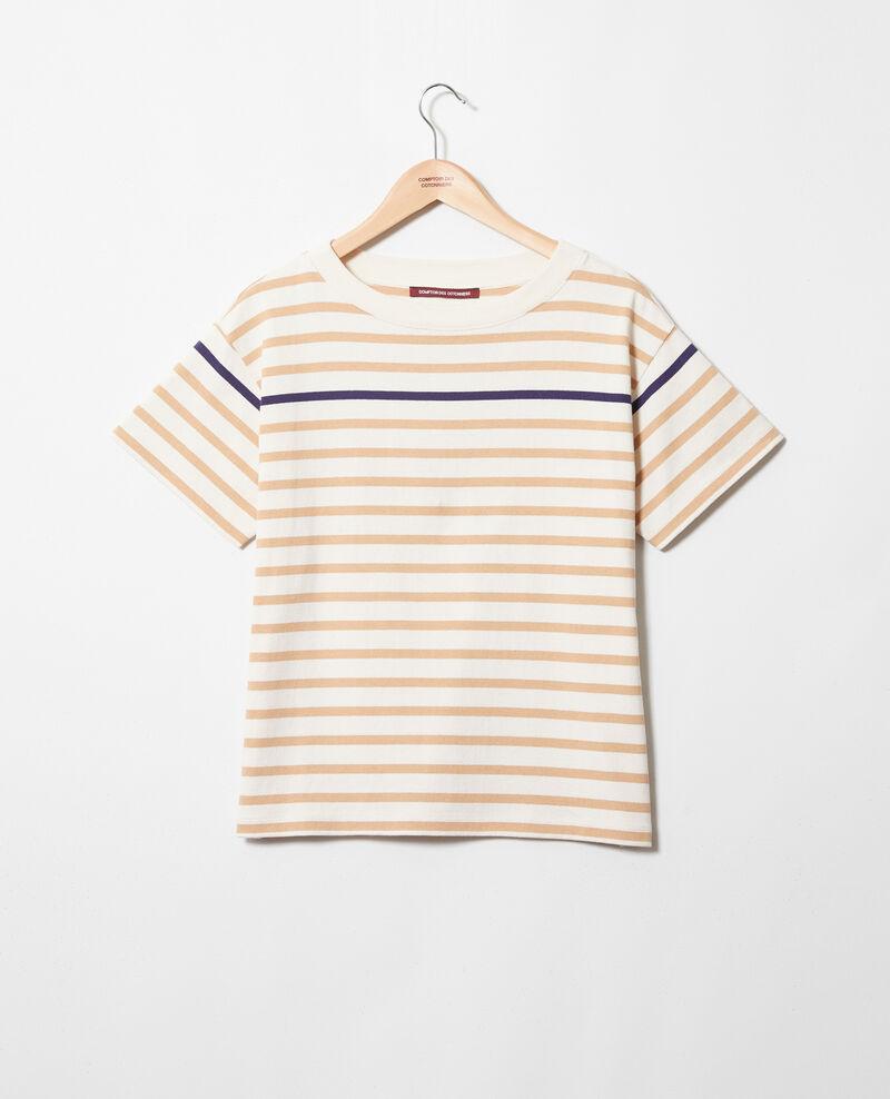Striped T-shirt Ow/camel/navy Ipanka