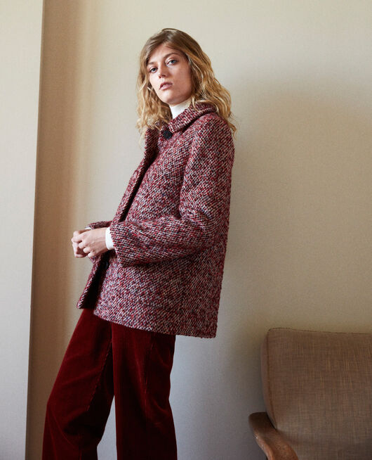 Tweed coat RED MELANGE