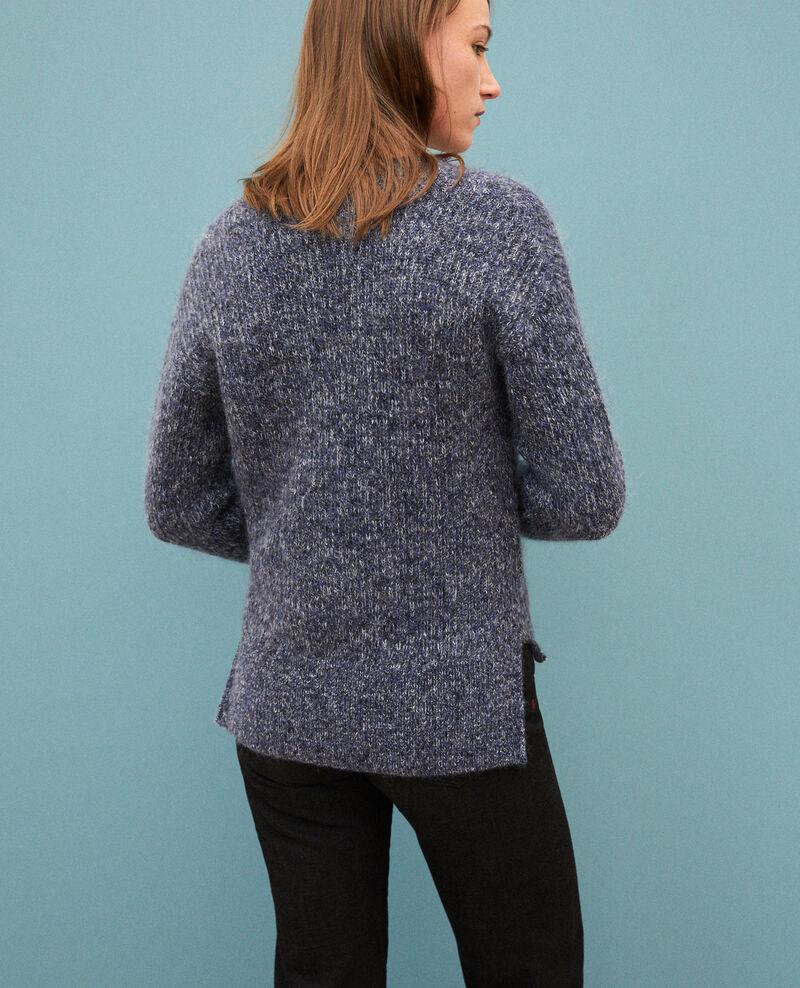 Flecked mohair cardigan Medieval blue/noir/off white Guenael