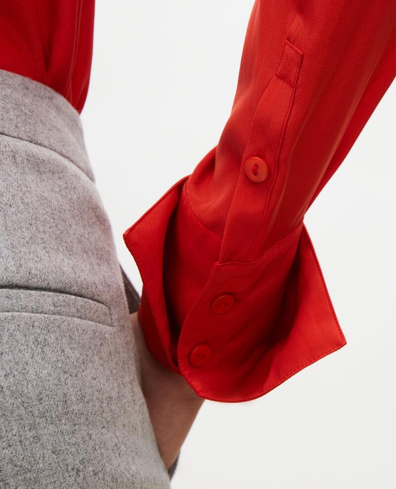 Long-sleeve tie neck silk blouse Valiant poppy Margueray