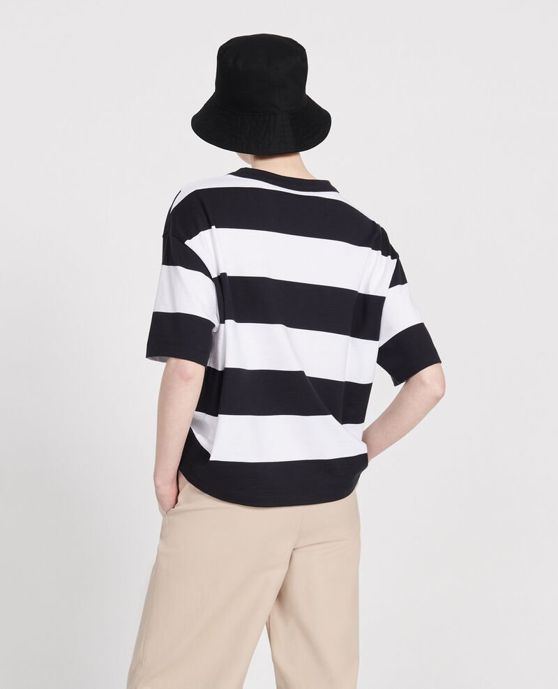 Oversize striped t-shirt Str opticalwhite black Lord