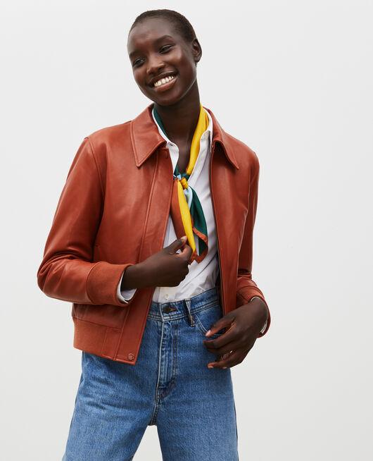 Lambskin zipped jacket. CAMEL