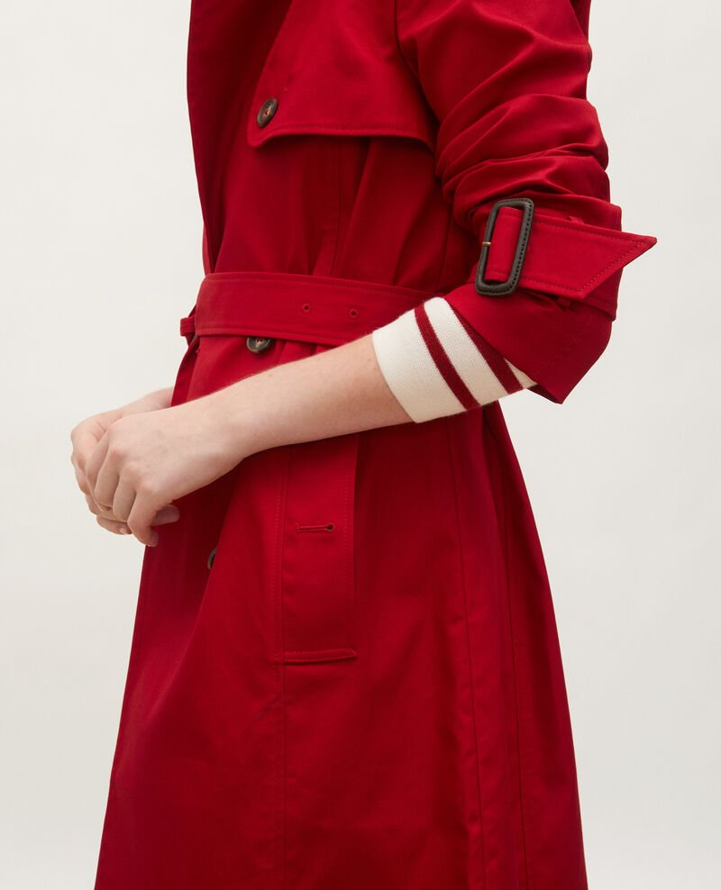 Mid-length cotton belted trench Royale red Mambert