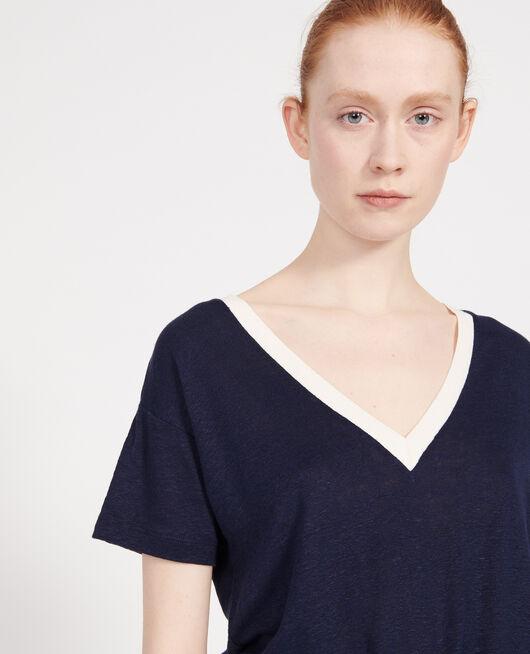 Linen jersey t-shirt STRIPES MARITIME BLUE BUTTERCREAM