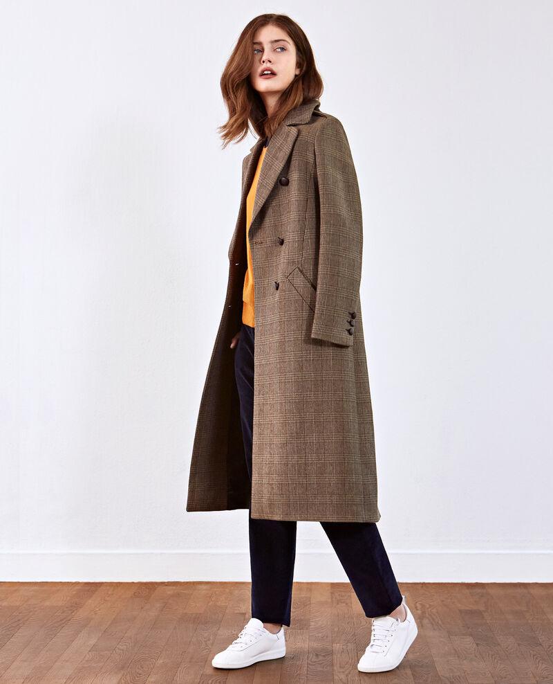 Herringbone long coat Chamois Duplexe