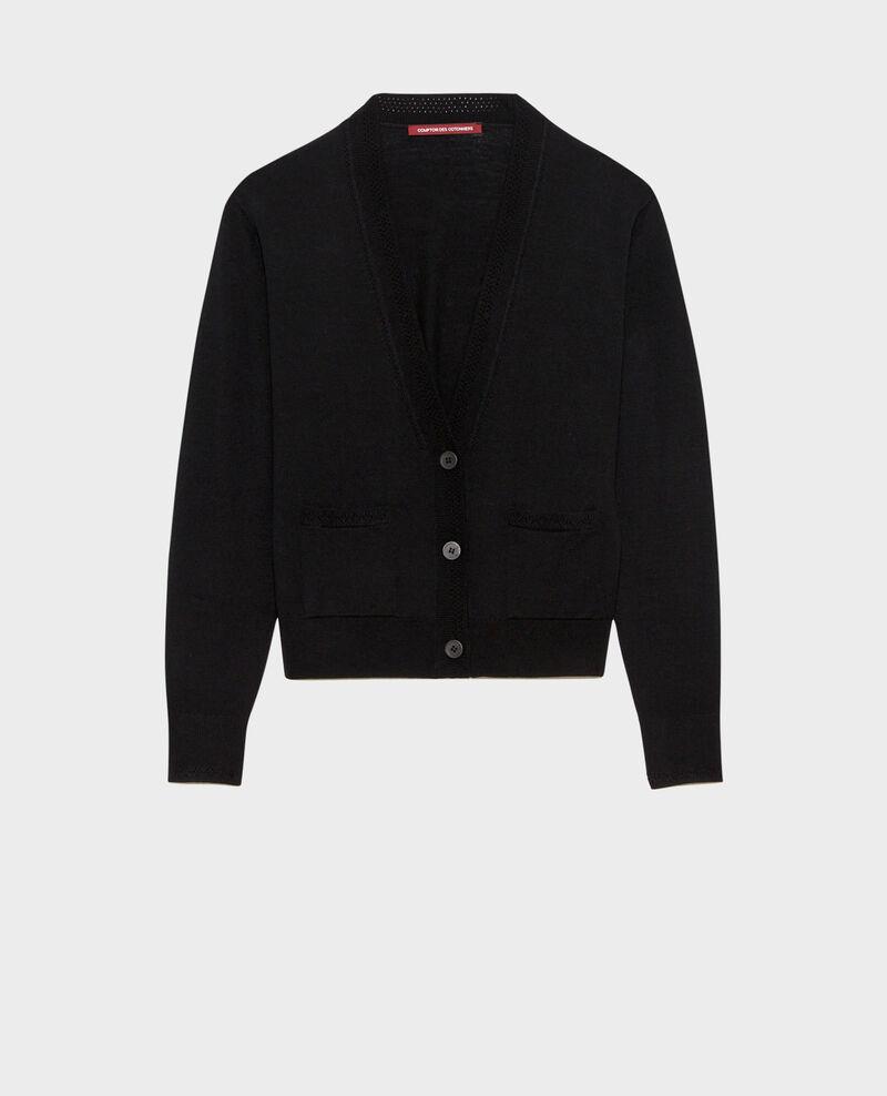 Cropped merino wool cardigan Black beauty Palabre