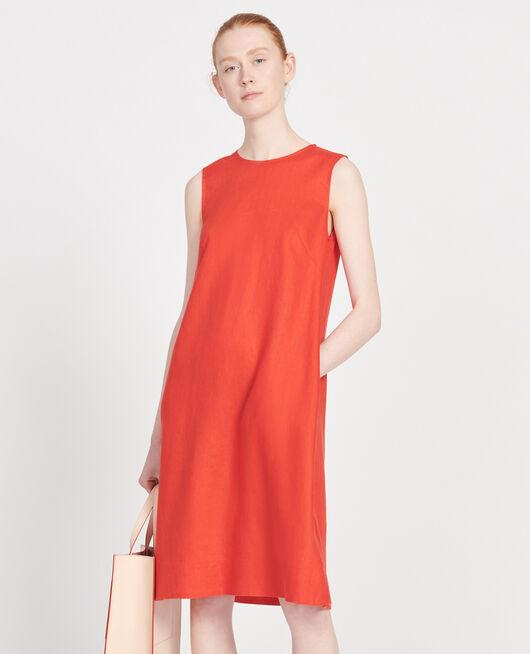100% linen dress FIERY RED