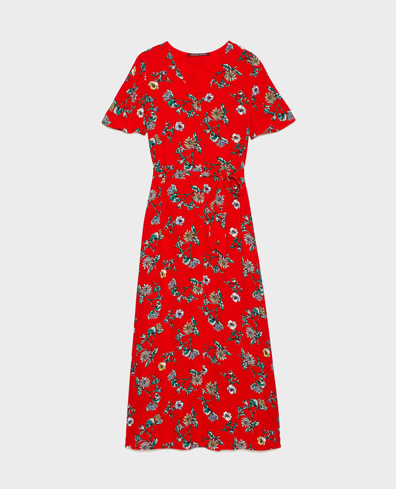 Viscose crêpe maxi dress Herbier fiery red haze Lavish