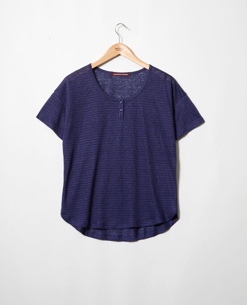 Linen-blend shiny T-shirt Sapphire navy Imape
