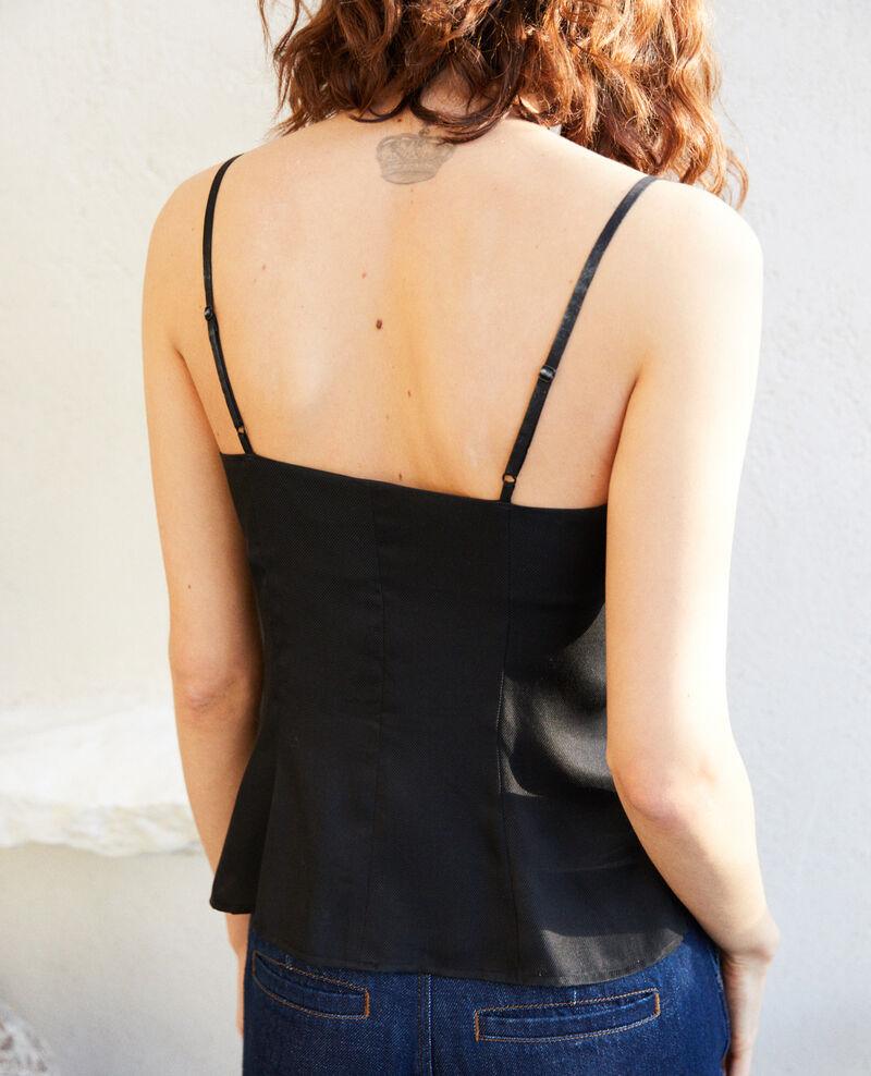 Silk blend cami Noir Ilexandrie