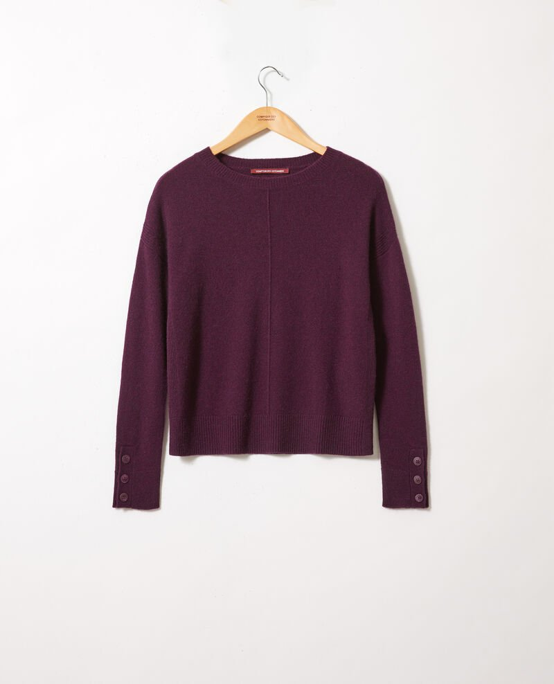 Jumper with buttons on the sleeves 100% cashmere Potent purple Jypie