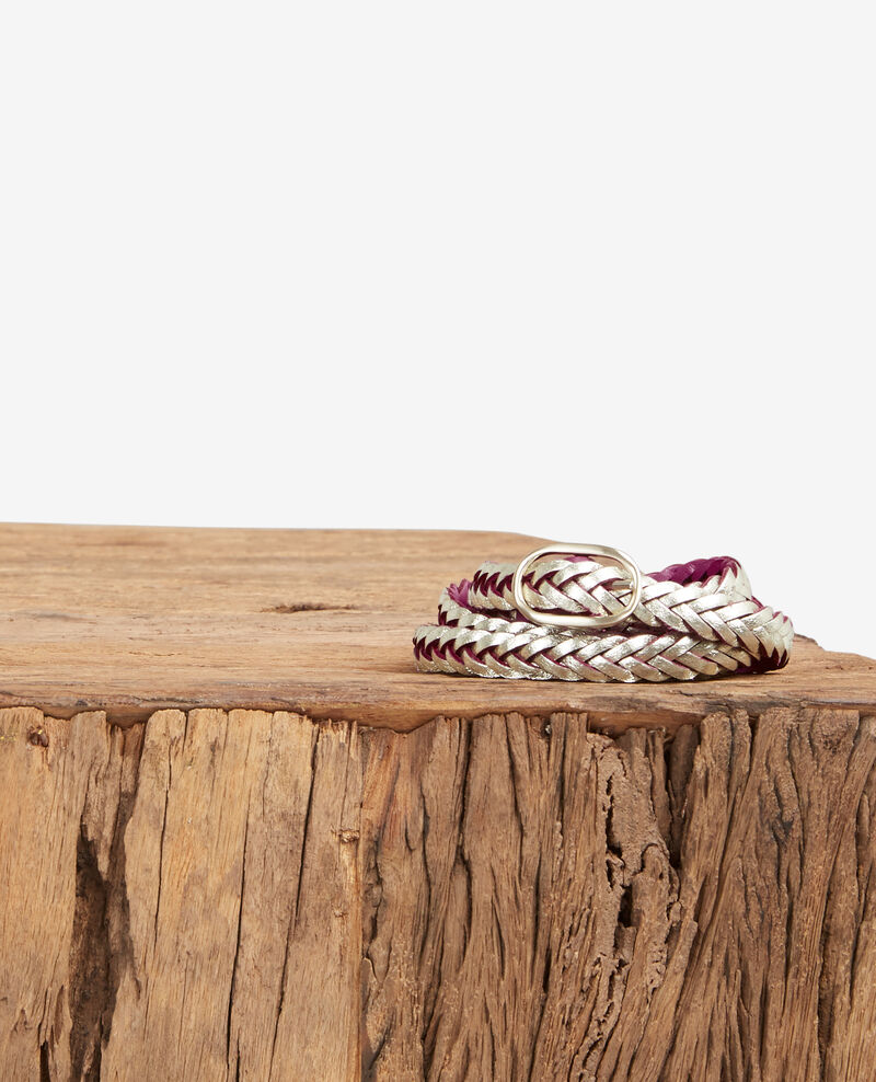 Braided, reversible two-tone leather belt Peony Clown