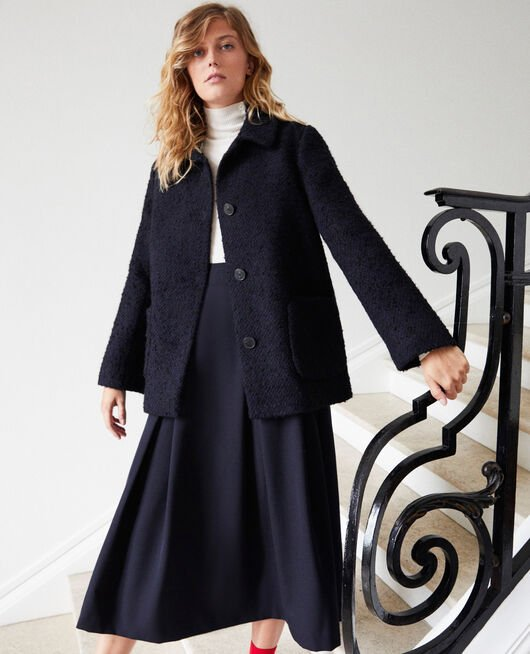 Boiled wool coat NAVY