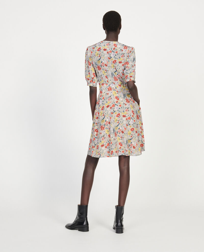 Floral silk wrap mini dress Print eden cream Meanie