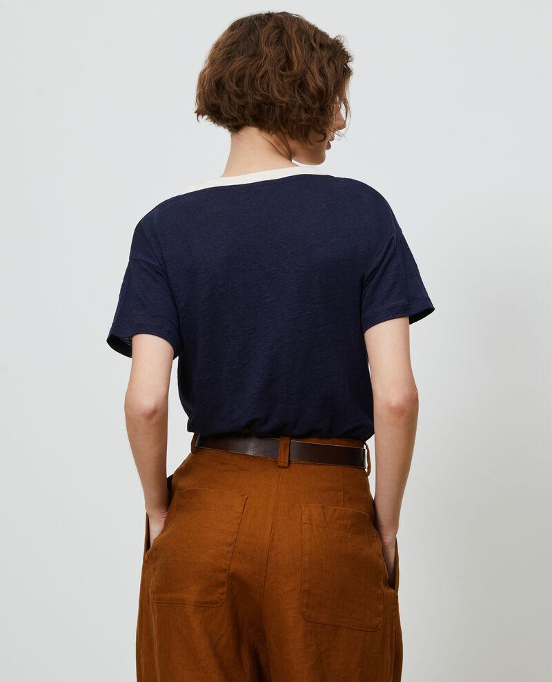Linen V-neck t-shirt Str maritime butter Locmelar