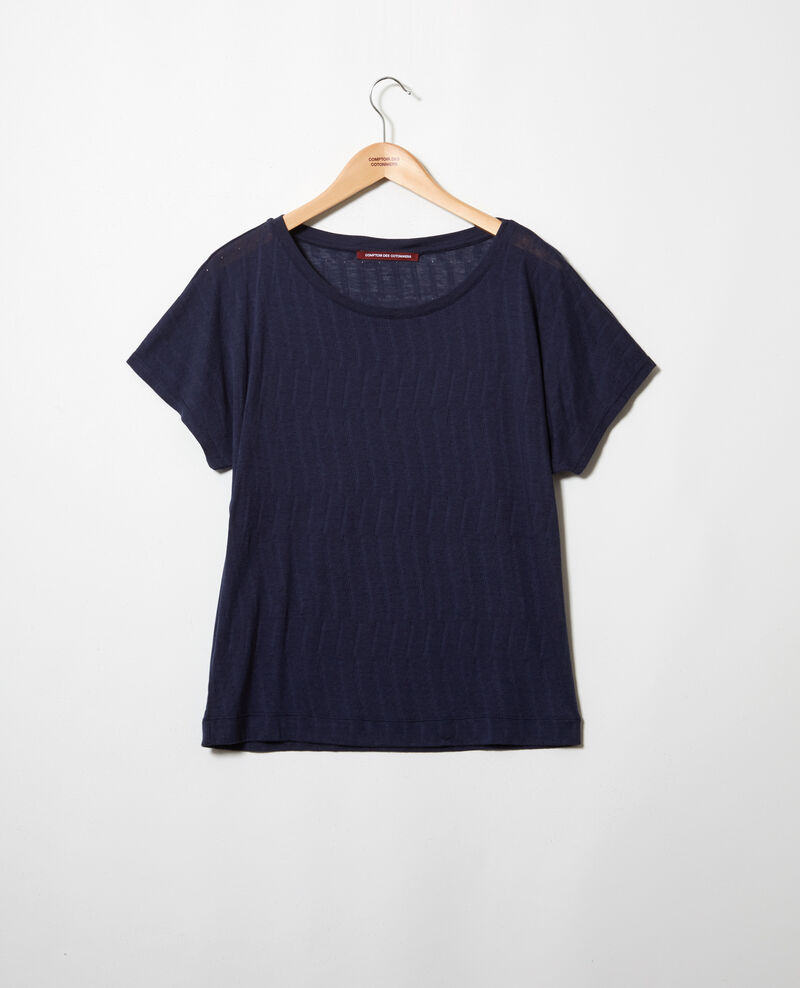 Soft-touch t-shirt Dark navy Ivoire