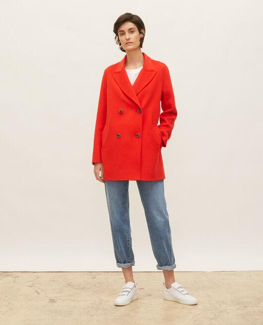 Double-sided wool pea coat FIERY RED
