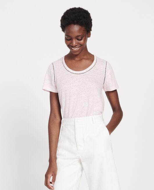 Linen jersey T-shirt PRIMROSE PINK