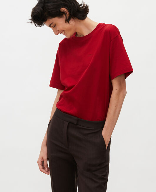 Oversize cotton t-shirt ROYALE RED