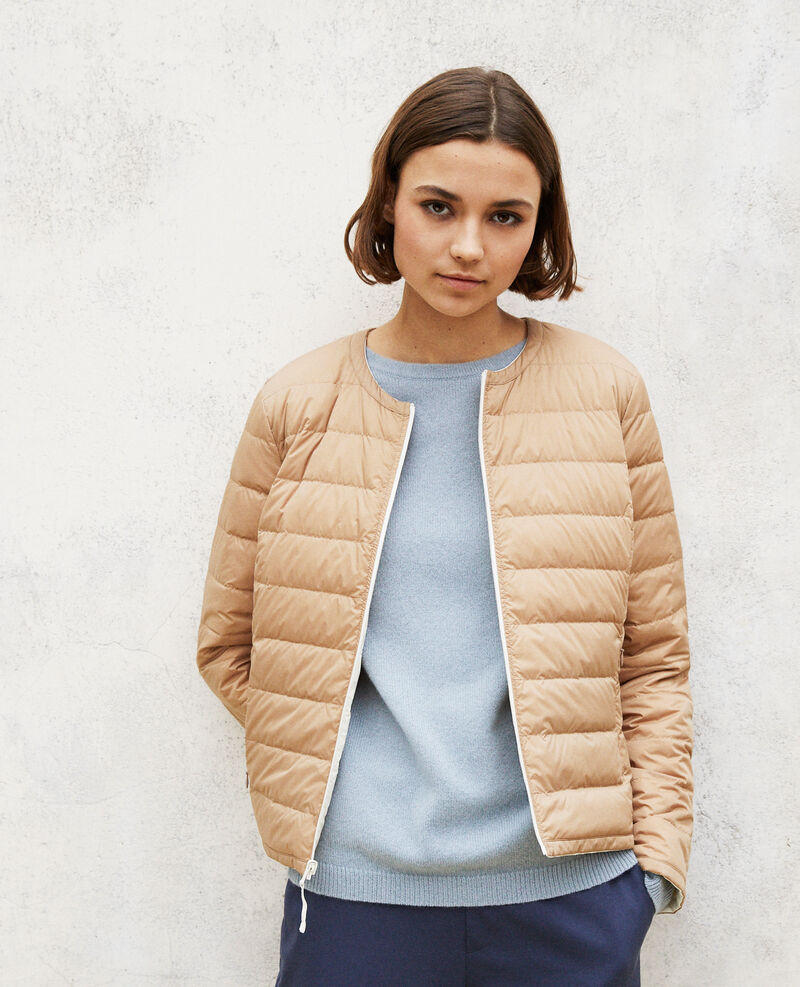 Reversible Mademoiselle Plume jacket Blanc/tannin Gallopo