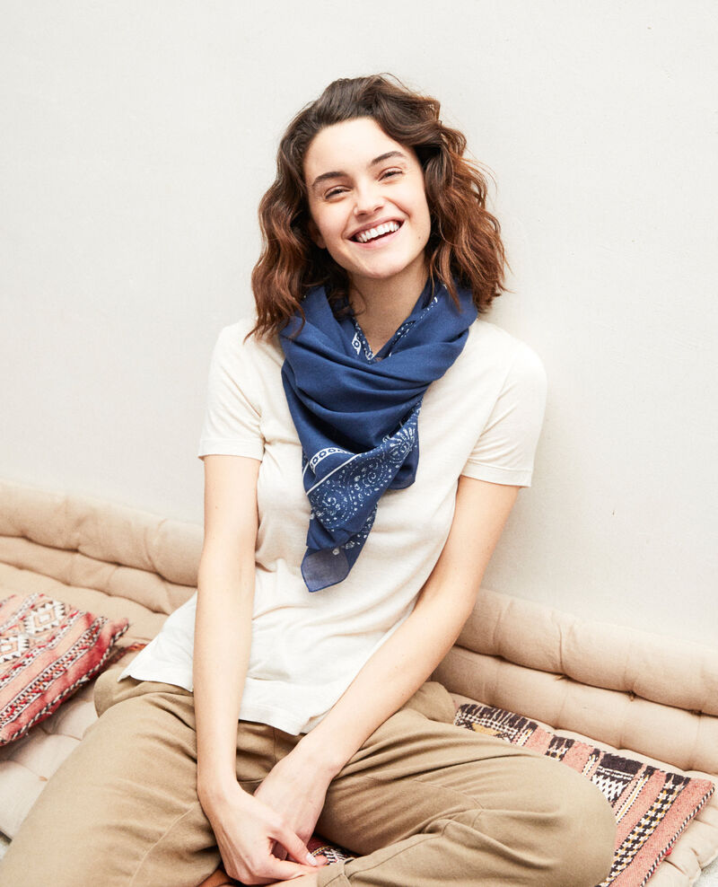 Printed scarf Dark navy Idana