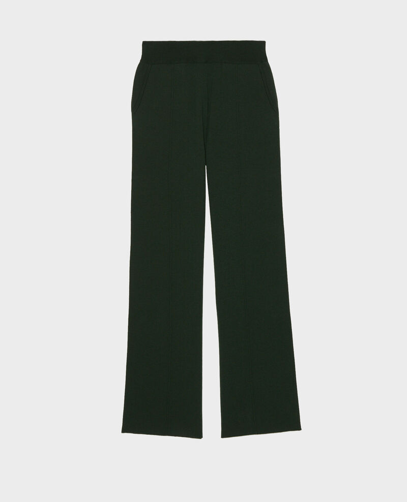 Wide wool jersey trousers Military green Marseillan 2