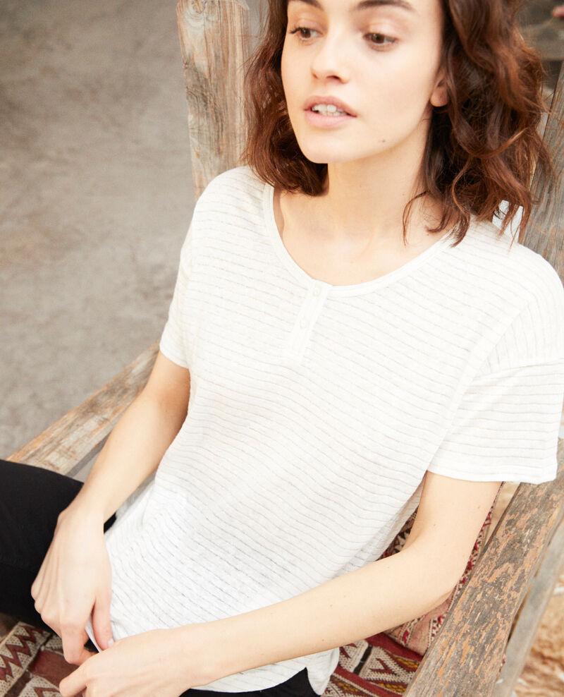 Linen-blend shiny T-shirt Off white Imape