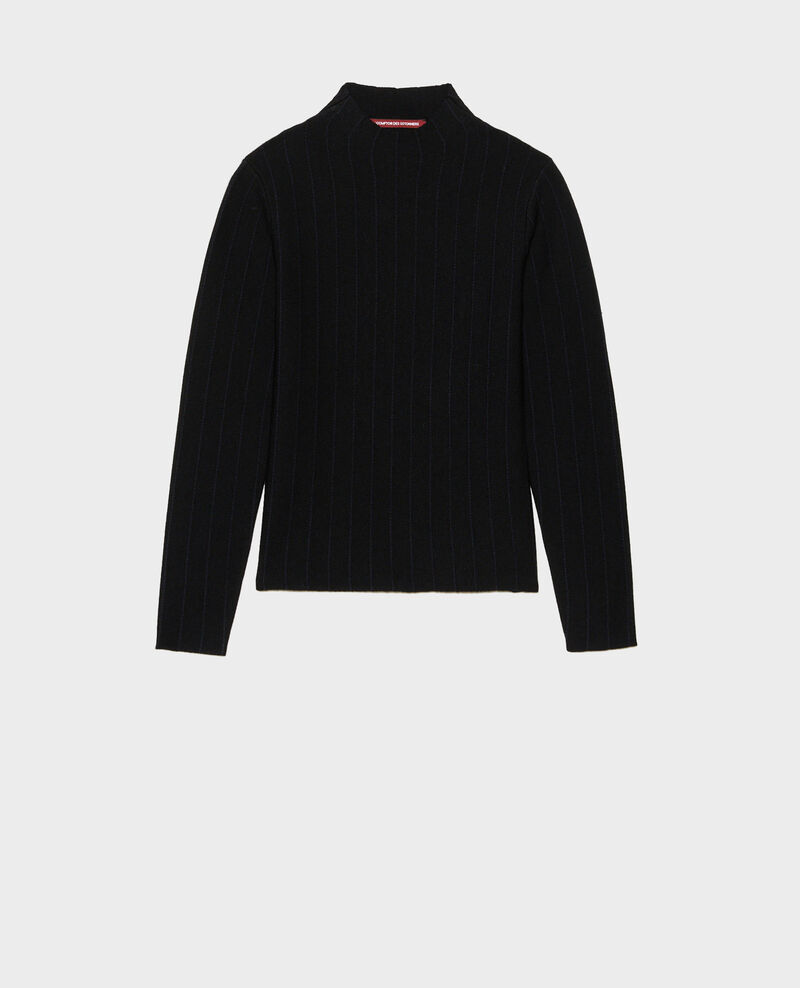 Merino wool funnel neck jumper Black nightsky jacquard Marquisa