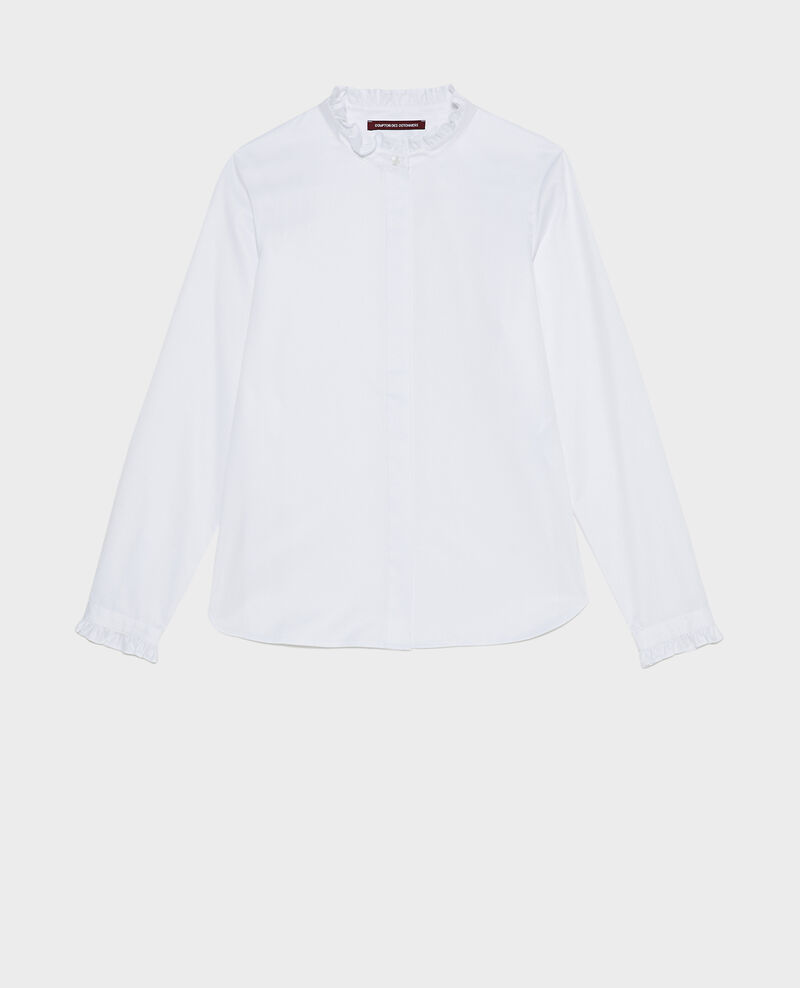 Ruffled high collar cotton shirt Brilliant white Marcenat